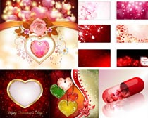 花朵桃心情人节元素矢量素材