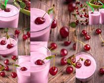 樱桃与奶茶摄影高清图片