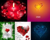 浪漫红色花瓣矢量素材