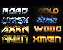 黄色金属效果PS字体样式