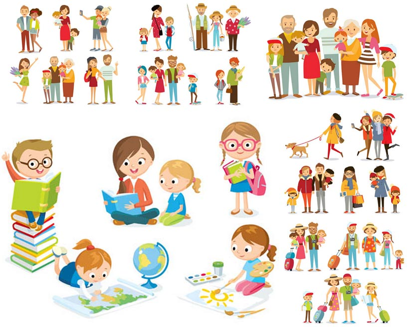 可爱的卡通一家人矢量素材