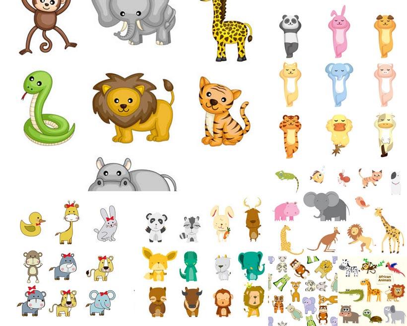 卡通狮子等动物矢量素材