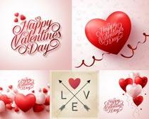 情人节爱心彩带设计矢量素材