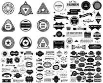 黑白丝带标签设计矢量素材