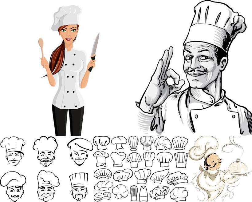 大厨厨师头像黑白制服帽子大厨人物肖像手势矢量素材矢量图创意设计