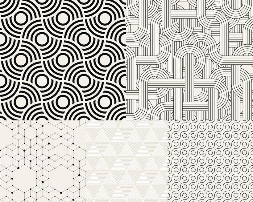 黑白四方连续文集矢量素材
