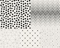 黑白点状花纹背景矢量素材