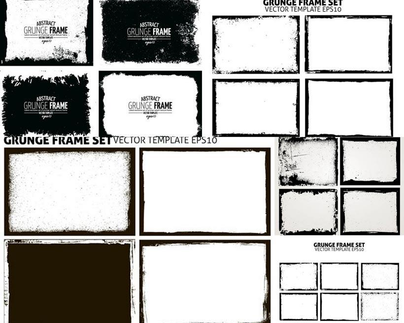 复古黑白边缘设计矢量素材