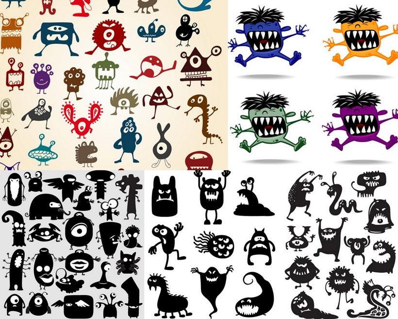 怪物 长手怪兽 紫色 黑色 黑白 矢量图 卡通 可爱 萌物 矢量素材 设