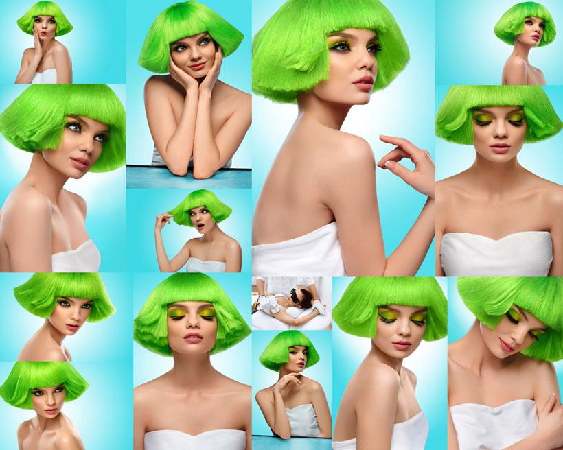 [时尚绿发女子摄影