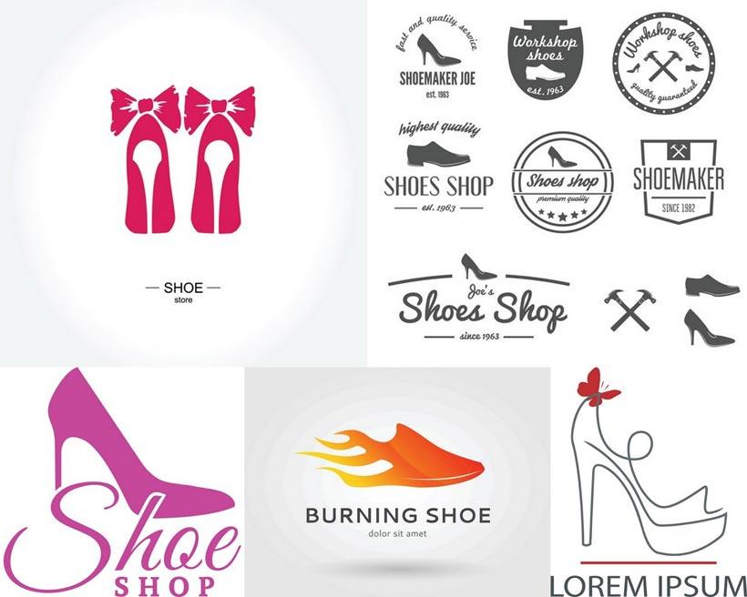 蝴蝶结高跟鞋设计矢量素材