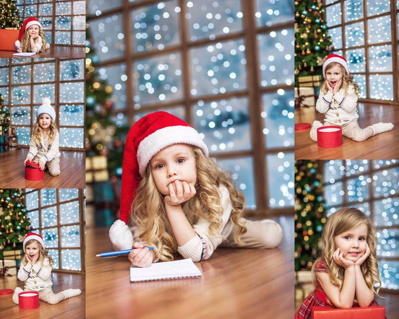 可爱的圣诞小女孩摄影高清图片