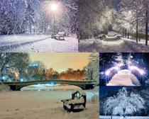 夜色雪景摄影高清图片