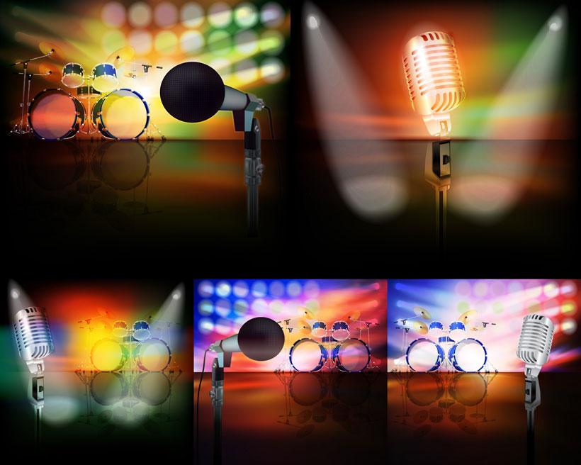 音箱 喇叭 音响 吉他 唱片 环形 光芒 背景 灯光 放射线 星光 矢量
