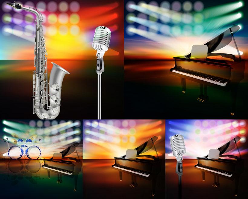 话筒喇叭与萨克斯等音乐主题矢量素材