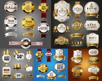 勋章与促销元素等标签矢量素材