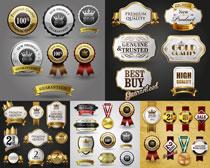 奖杯勋章与促销元素等标签矢量素材