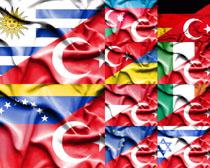 国外旗帜拍摄高清图片