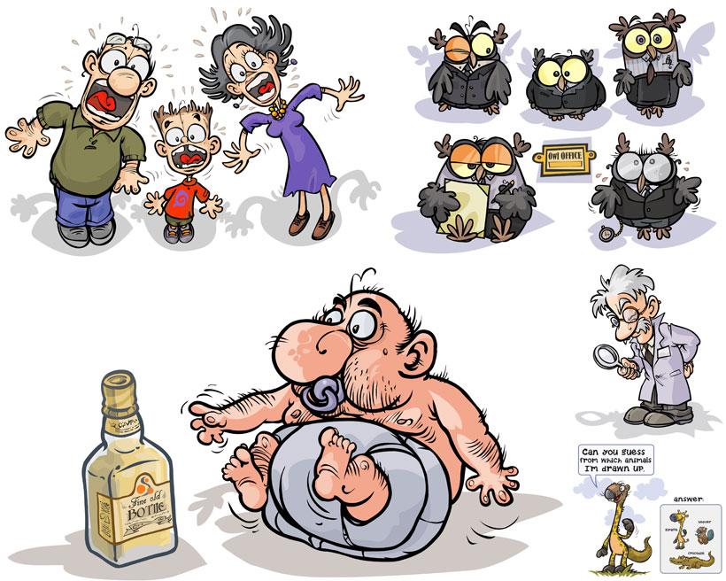 人物卡通 > 素材信息   关键字: 可爱卡通猫头鹰一家人矢量素材 注意