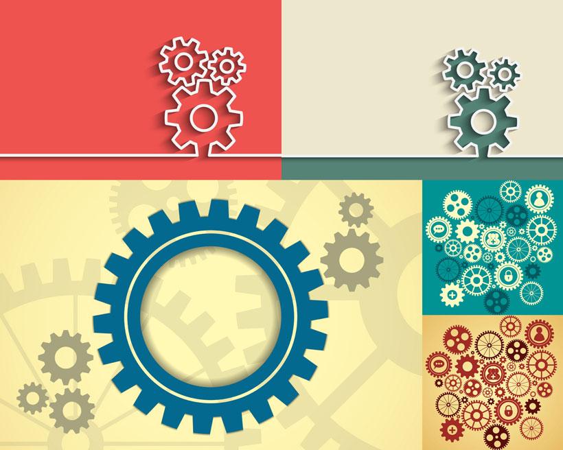 齿轮背景图案创意设计矢量素材