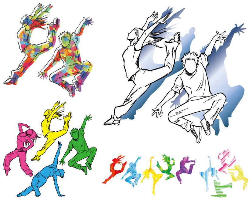 人物跳舞男人女人剪影手绘炫彩彩色黄色蓝色矢量