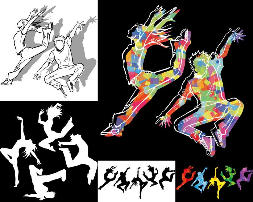 跳舞人物跳跃黑色白色剪影矢量素材
