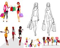 时尚购物女子矢量素材