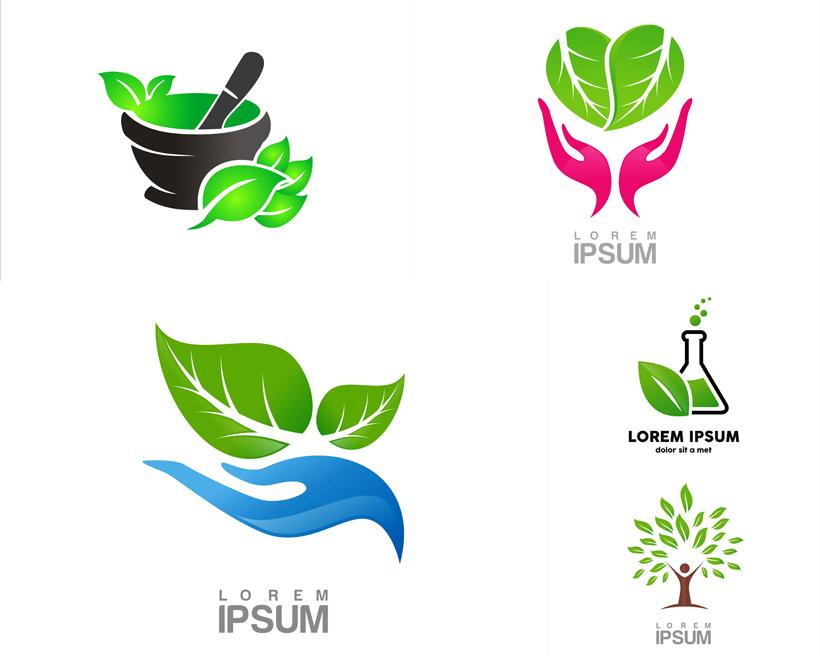 环保主题手掌药盅logo设计树叶滴管树叶矢量素材