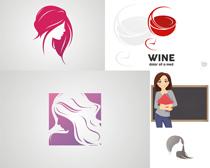 卡通红头发女子设计矢量素材