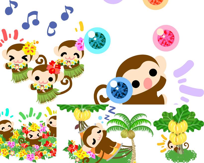 可爱的卡通猴子矢量素材