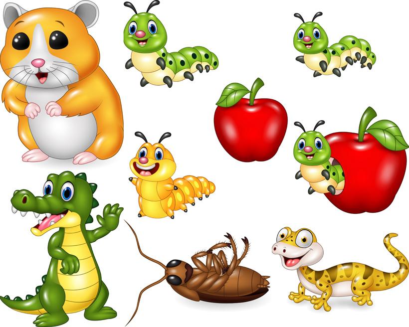 卡通老鼠苹果毛毛虫海马可爱虫子蟑螂矢量
