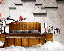 淘宝实木床促销海报设计PSD素材