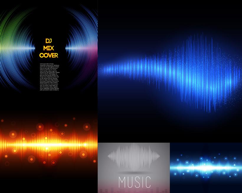 音乐声波设计矢量素材