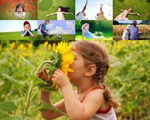 花丛玩耍的儿童摄影高清图片