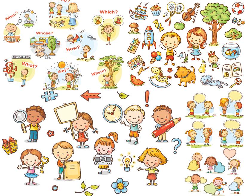 玩具木馬卡通小朋友矢量素材