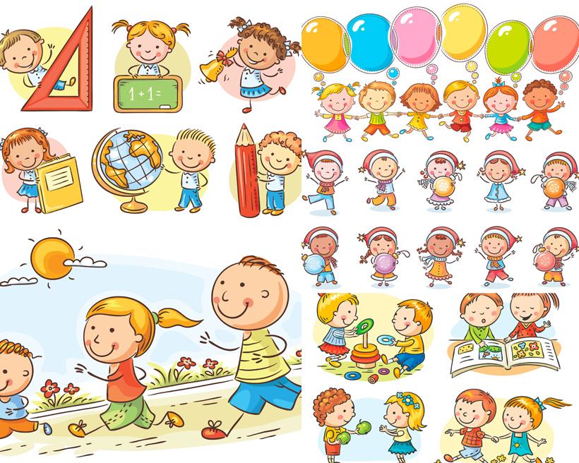 可爱人物小孩小男孩小女孩气球三角板辫子太阳海滩