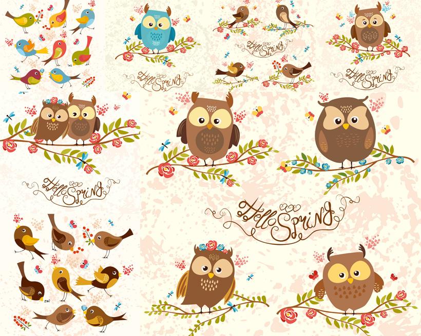 鸟类可爱猫头鹰树叶蓝色棕色大眼睛矢量素材