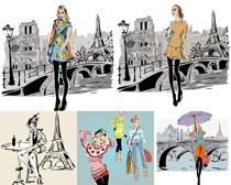 时尚人物购物矢量素材