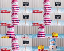 毛绒玩具雪人摄影高清图片