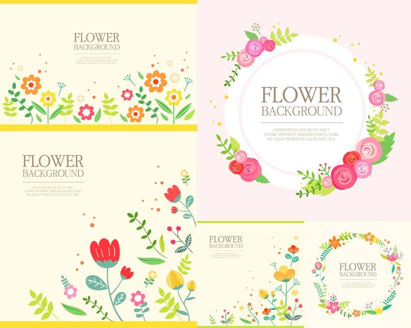 春天元素花朵边框矢量素材图片