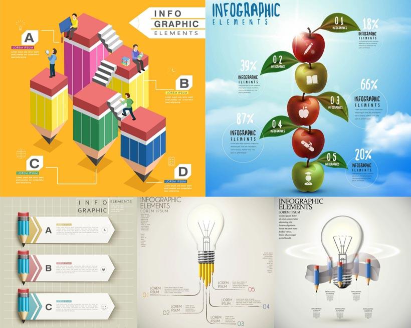 立体流程表创意设计矢量素材