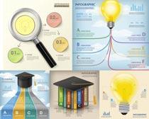 信息图表博士帽创意设计矢量素材