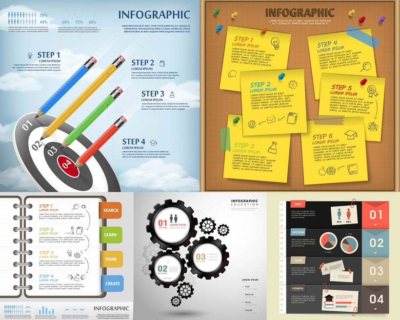 铅笔流程图表创意设计矢量素材