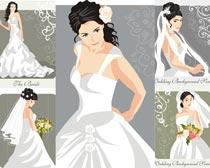 穿着白婚纱的女人矢量素材