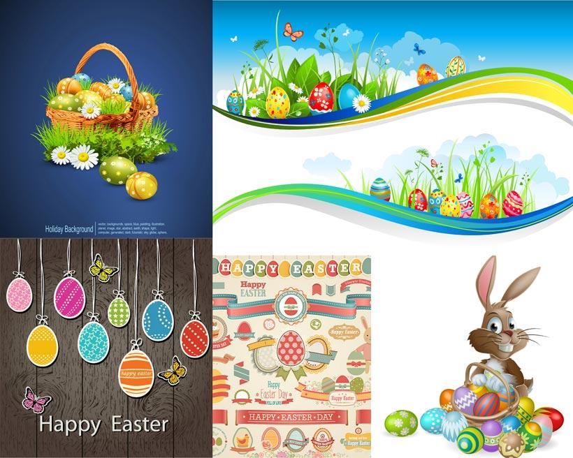 可爱的小兔子装饰矢量素材