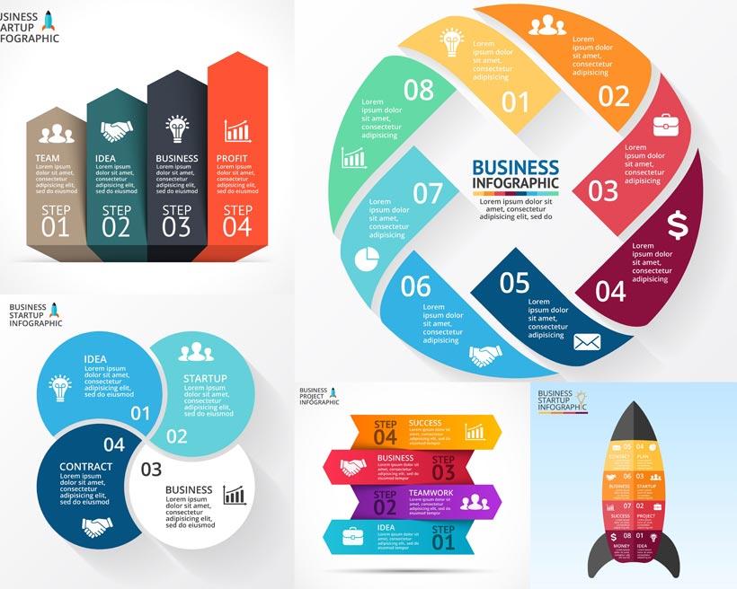 流程图表创意设计矢量素材