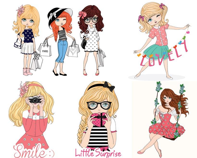 卡通可爱女孩裙子长发美女