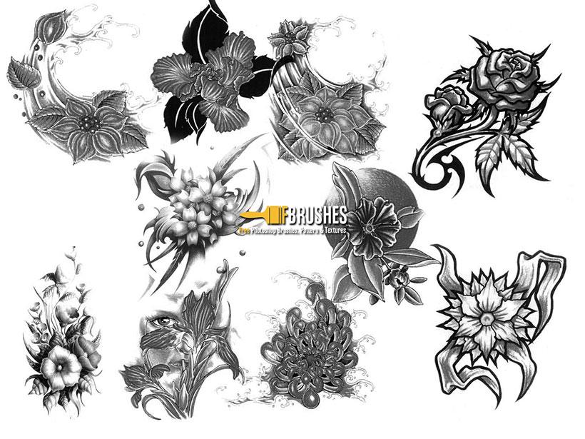 爱图首页 ps素材 ps笔刷 纹身花纹笔刷 花卉笔刷 手绘花卉笔刷 ps笔刷