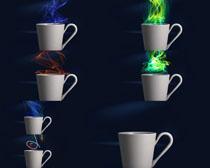 光芒与茶杯摄影高清图片