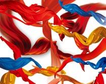 超多红绸缎和蓝丝带PSD分层素材
